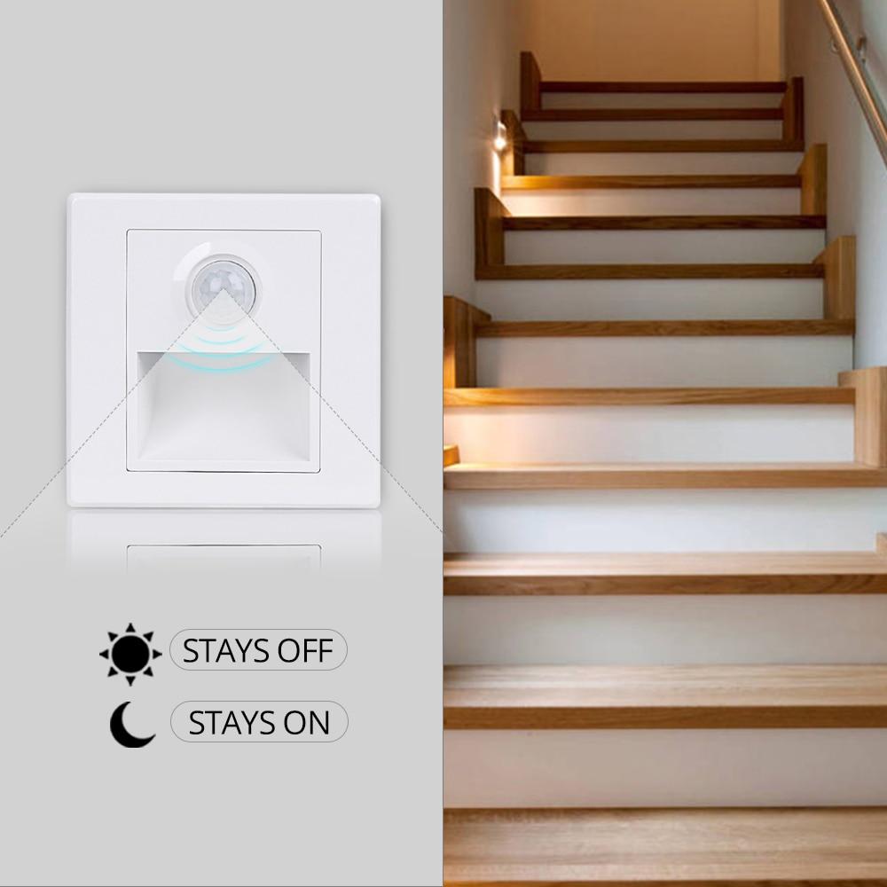 Us 3 99 30 Off Recessed Led Stair Light 100 265v Wall In Step Lamp With Pir Motion Sensor Stairway Corridor Sconce Lighting Footlight