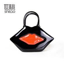 Shitao Women PU Handbag Famous Brand Minaudiere Hard Evening Bag Red Lip Zipper Party Shoulder Bag Crossbody  Bag  KS0015