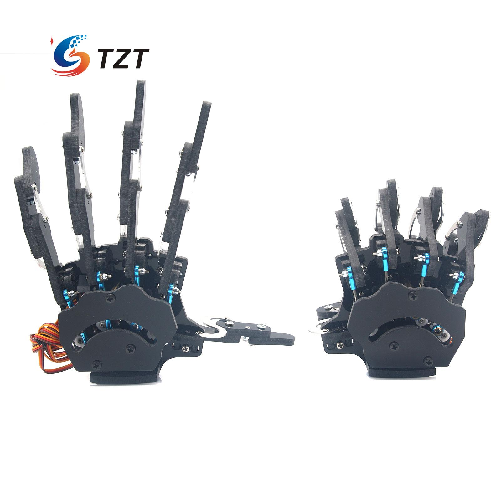 Robot Right & Left Hand with Servos Five Fingers Clamper Claw Gripper Mechanical Arm for Assembled for DIY 5dof robot humanoid metal manipulator five fingers anthropomorphic left right hand with servo