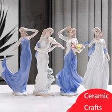 Europeu cerâmica beleza estatueta mobiliário doméstico artesanato decoração ocidental senhora meninas porcelana ornamento presente de casamento