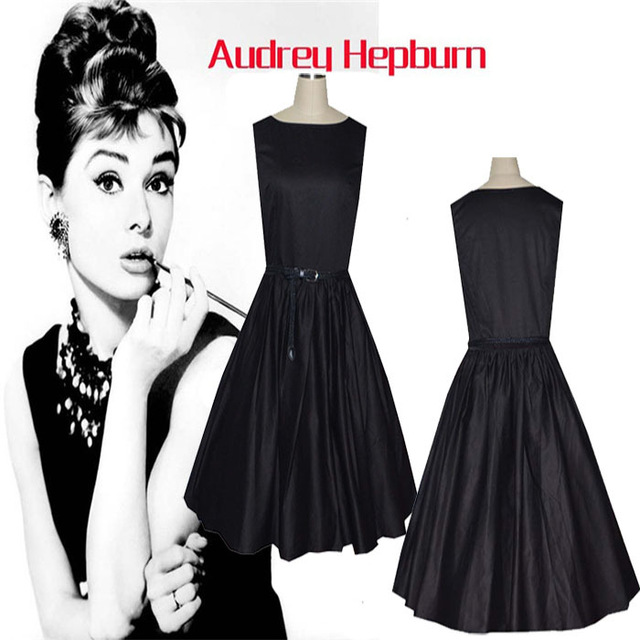 Buy Xs Xxl Vintage Audrey Hepburn Little Black Dress Cotton Women Summer Retro