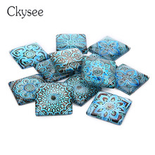 20pcs/Lot Vintage Blue Flower Cabochon 20mm 25mm 30mm  DIY Jewelry Making Square Glass For Necklace Bracelet Ring