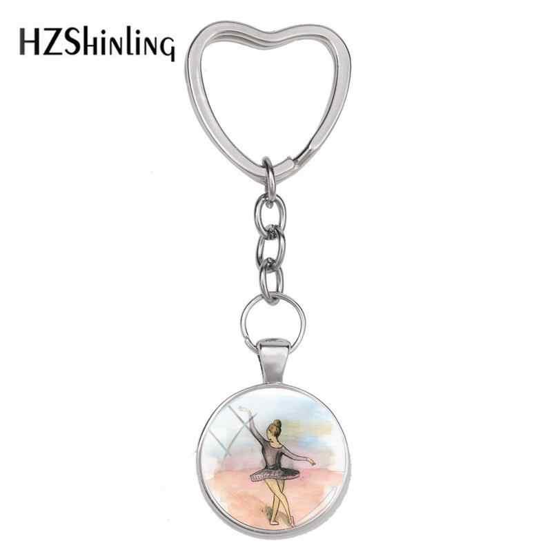2018 Novos Pequenos Deuses Amor Ballet Bailarina Chaveiro Corrente Chave do Coração de Vidro Da Foto Chaveiros de Prata Acessório Jóias Artesanais