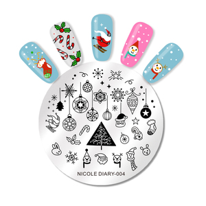Image 3 - NICOLE DIARY Christmas Halloween Nail Art Stamping Plate Snow Ghost Image Printing Template Festival New Year Nail Stamp Stencil