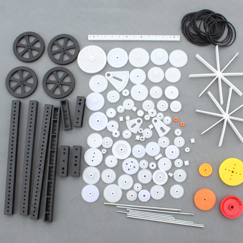 Single/Double Plastic Gear Motor Rack Pulley Gearbox Model Toy Car Auto Craft 92Pcs DIY Accessories Four-wheel Drive Robot Kit