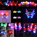 Women Girl Headband LED Light Up Flashing Crown Flower Garland Wreath Bunny Ear Bow knot Butterfly Party Hair Accessories