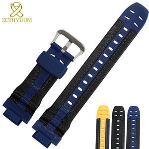 Image 5 - Bracelet en caoutchouc de silicone interface convexe bracelet de montre 16mm bracelet de montre en cuir véritable bord pour casio G 314RL 1A/G 315/bracelet de G 354