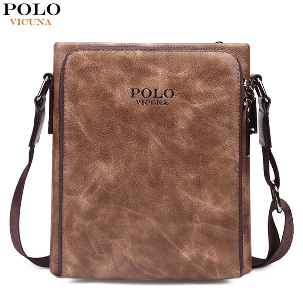 dcbbf3f2f1da VICUNA POLO Perfect Quality Zipper Open Mens Leather bolsa Vintage Vertical  Shoulder Bag Men Casual Large Capacity sacoche homme