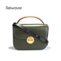 Relwaver Cowhide Split Leather Women Messenger Bags Crossbody Flap Bag Brief Accordion Side European American Style