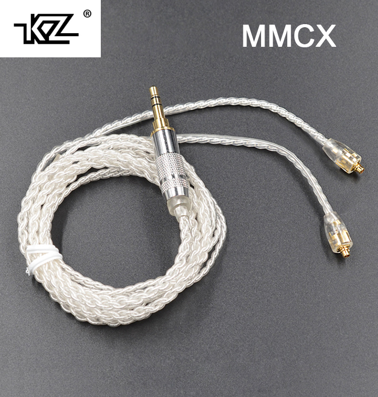 New KZ MMCX Cable Silver Plating Cable Upgraded Cable Replacement Cable Cord Use For Shure SE535 SE846 UE900 DZ7 DZ9 DZX LZ A4