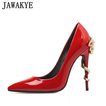 Spring Gold mental snake heel dress wedding shoes women unique patent leather pointed toe super high heels pumps zapatos mujer