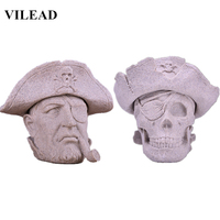 VILEAD 6.3 Nature Sandstone Pirate Captain Statuettes People Skull Figurines Office Sculpture Gifts Home Decoration Accessories