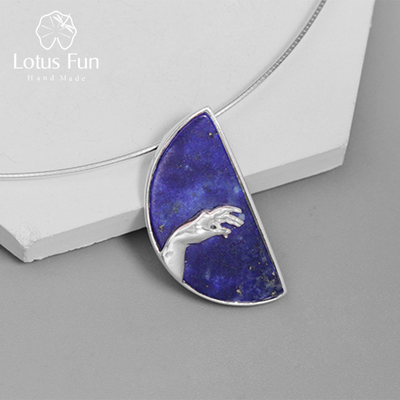 Lotus Fun Real 925 Sterling Silver Pendants for Women Blue Lapis Hand of God from The Creation of Adam Pendant without Necklace