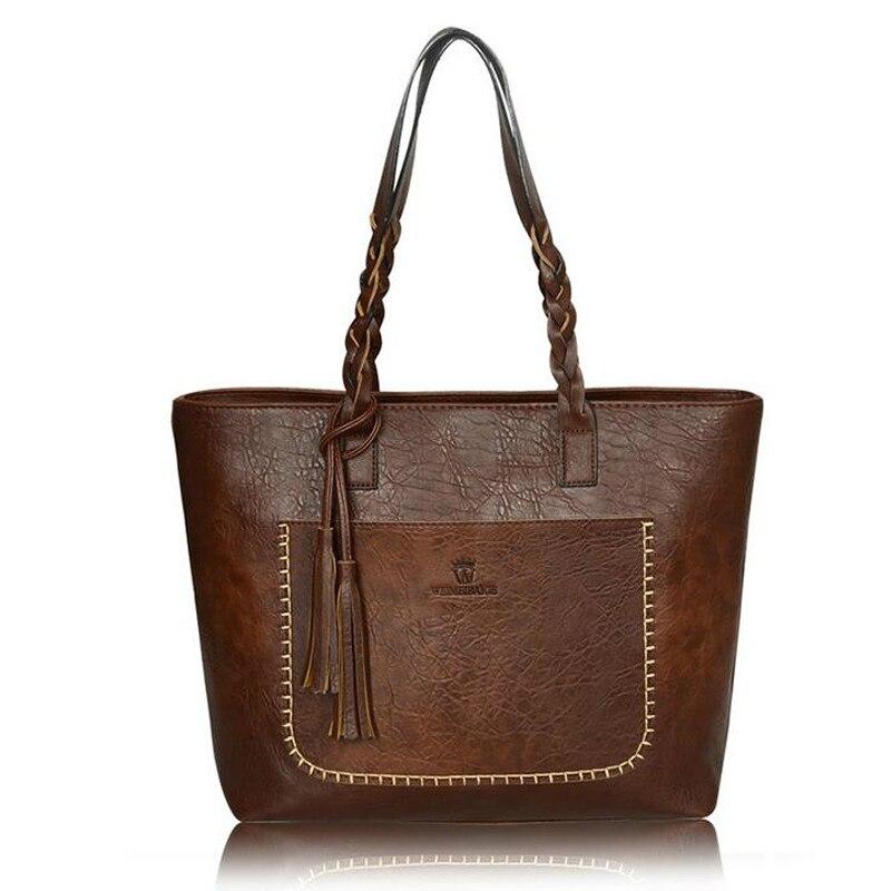 XLY&R Famous Brand Leather Handbag Bolsas Mujer Large Vintage Tassel Shoulder Bags Women Shopping Tote Purse sac a main