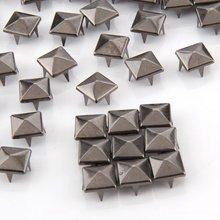 100 шт Металлические Ручки заклепки для кожи PunkPyramid шпильки и шипы для украшения одежды
