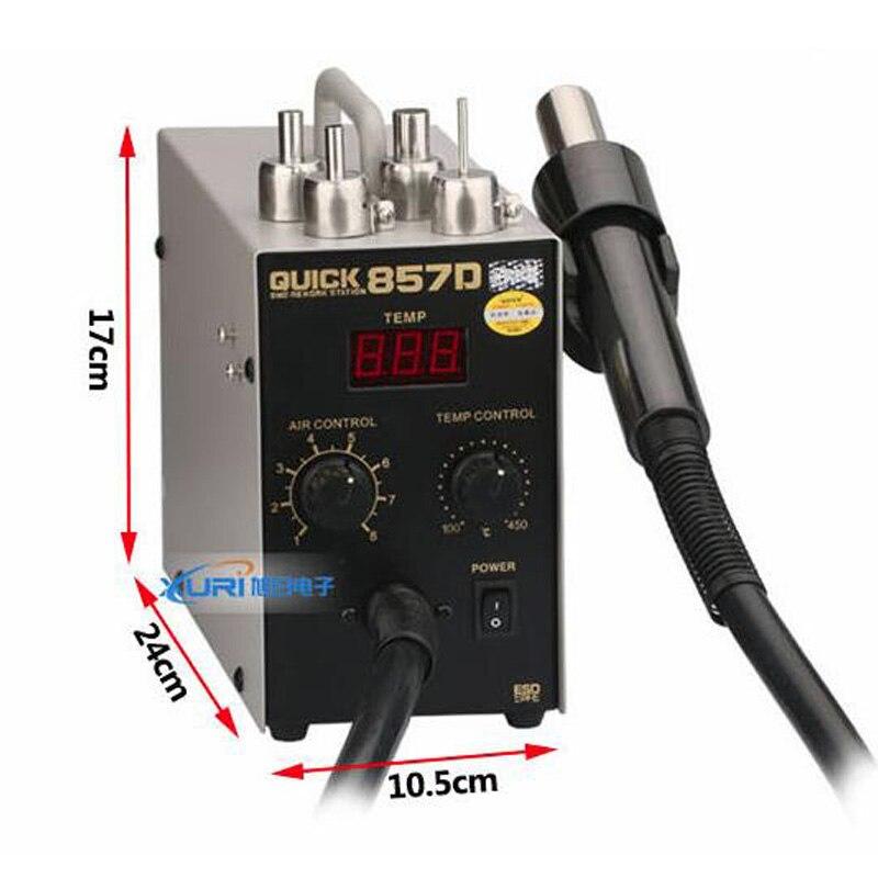 1 pc QUICK 857D pistolet à air chaud réglable sans plomb avec station de reprise de vent hélicoïdal 580 W SMD, haute qualité