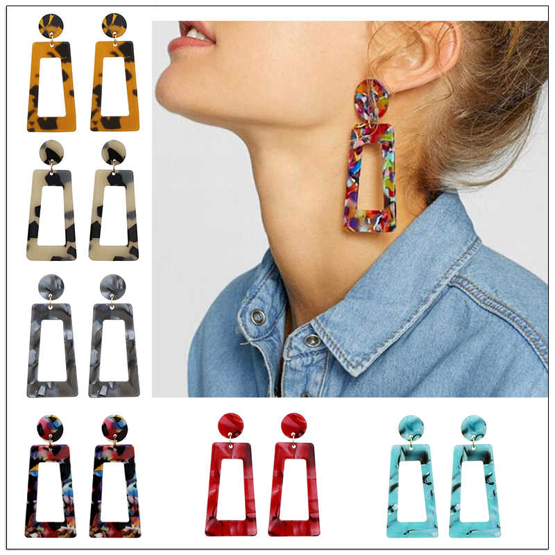 Fashion Leopard Print Multi-Color Acrylic Acetic Acid Drop Earrings for Women 2019 Resin Large Square Earrings Geometric Pendant