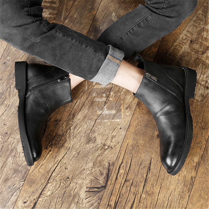 De Rue Chaussures Cuir Bout Hommes Aa51588 D'hiver Fermeture Éclair Confortable Travail En Bottes Beau Rond Personnalisé Mâle gris Noir If7gyYb6mv