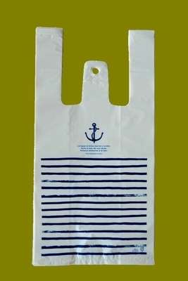 Zilue 100pcs/lot size 18*35cm Supermarket Shopping Bakery shop plastic bags, navy blue striped bags with handbag ...