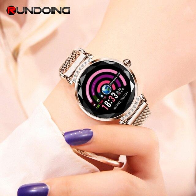 Rundoing H2 reloj inteligente impermeable de las señoras de las mujeres de moda reloj inteligente monitor de ritmo cardíaco rastreador de ejercicios para android y IOS