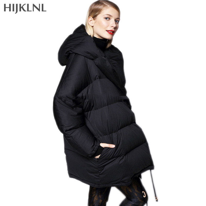 HIJKLNL Loose Size   Down     Coat   2019 New Winter Europe Brand Hooded Casual Mid-long   Down   Jacket Women Overcoat Parkas LH1241