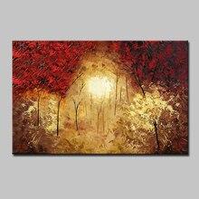 Ручная роспись, современный абстрактный пейзаж, дерево, картина маслом на холсте, настенное искусство для гостиной, украшение дома, картина, подарок