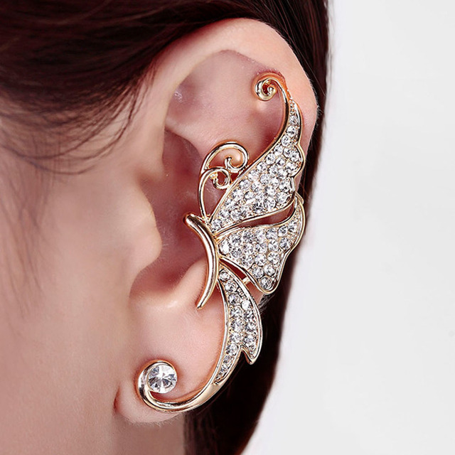 High Quality Excellent Shiny Bohemian Style Erfly Wings Shape Left Ear Cuff Womens Clip Clamp Earrings
