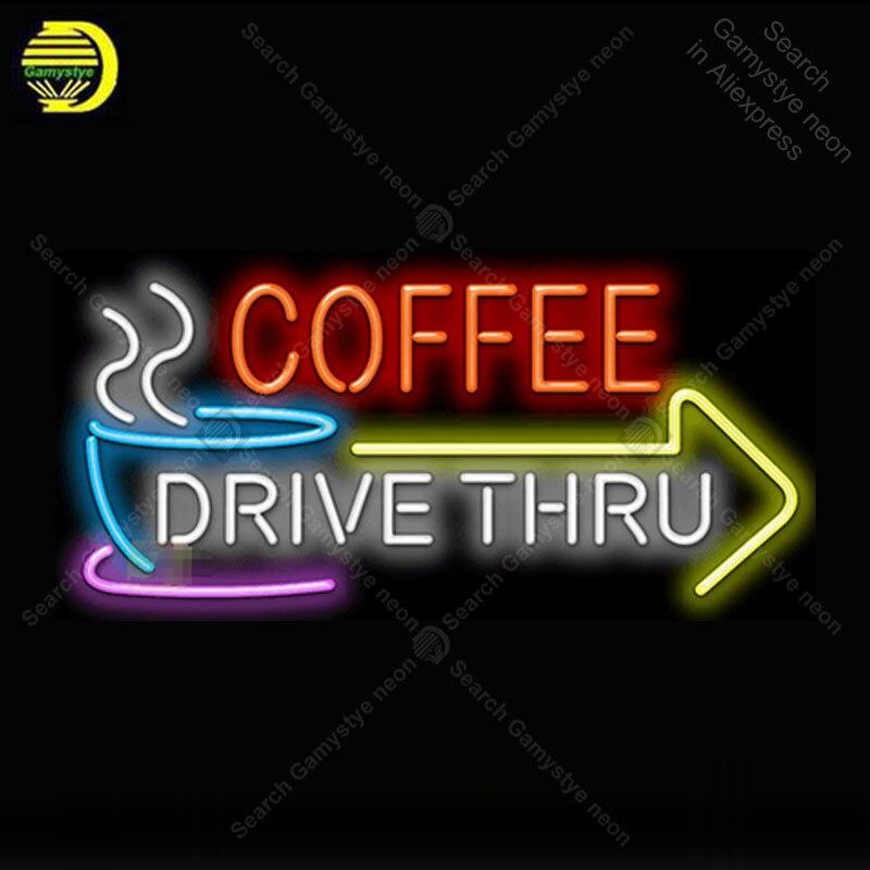 Commande de café à travers avec flèche néon lumière signe Tube de verre néon enseigne décor café néon panneau enseigne lampe anuncio luminoso Atarii