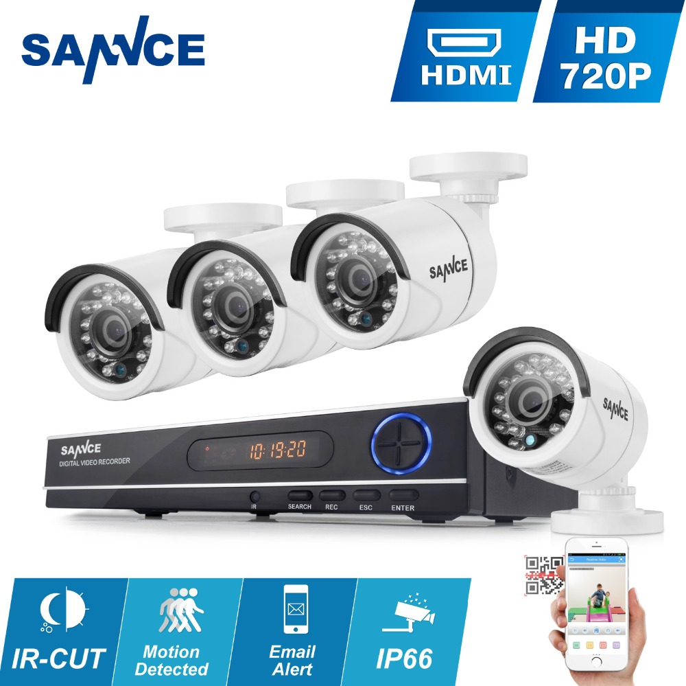 SANNCE 8CH CCTV Security System HD 1080N AHD DVR 4PCS 720P IR outdoor CCTV Camera System