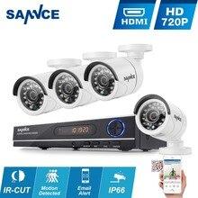 SANNCE ВИДЕОНАБЛЮДЕНИЯ Системы Безопасности HD 1080N 8-КАНАЛЬНЫЙ AHD DVR 4 ШТ. 720 P ИК открытый CCTV Камеры Системы Видеонаблюдения 8 Каналов комплект