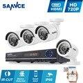 Sistema de segurança cctv 8ch hd 1080n sannce ahd dvr 4 pcs 720 P IR ao ar livre Câmera de CCTV Sistema de Vigilância de Vídeo De 8 Canais Kit
