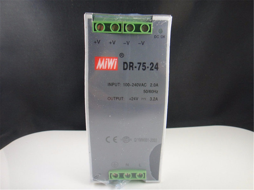 Input 110/220VAC Output 24VDC 3.2A 75W DR-75-24 DIN Rail Mounted Power Supply