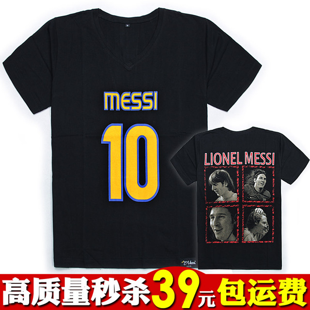 V-neck T-shirt men's clothing summer short-sleeve t shirt short-sleeve square collar football meysey messi black