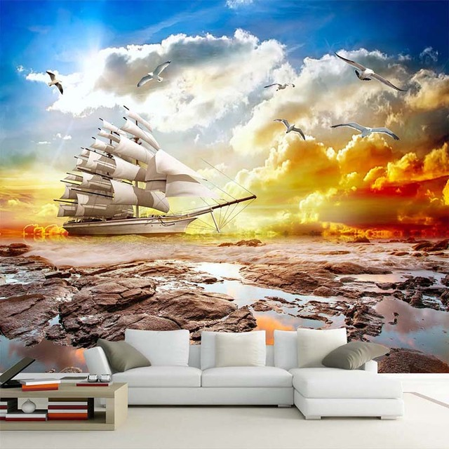 Custom 3D Wall Mural Wallpaper Smooth Sailing Sunset Scenery Sailboat Photo Background Papers Home Decor