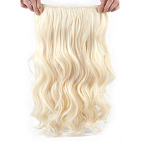 Wavy Clip In Synthetic Hair Extensions 26 Inch Natural Blonde Hair Clip Ins Halo Hair Extensions