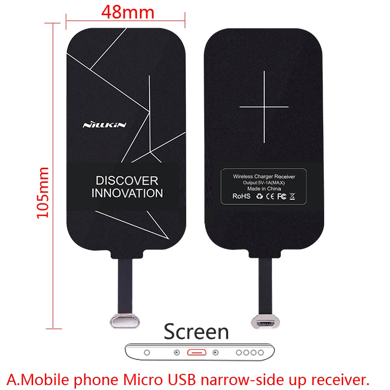 Universal Qi Wireless Charger Receiver Charging Nillkin Magic Tags Micro USB / Type C Adapter For iphone 5 5S SE 6 6S 7 Plus