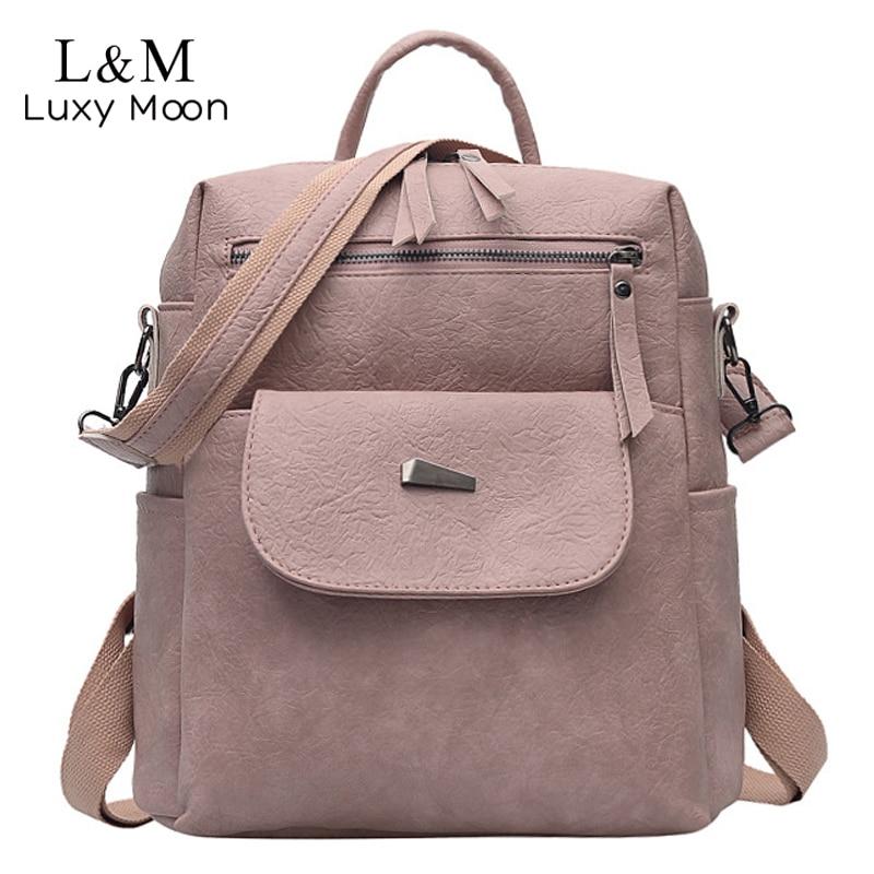 Simple Backpack Women Leather Multifunction Shoulder Bag For Teenage Girls School Bags Fashion Female Pink Solid Backpack XA7H