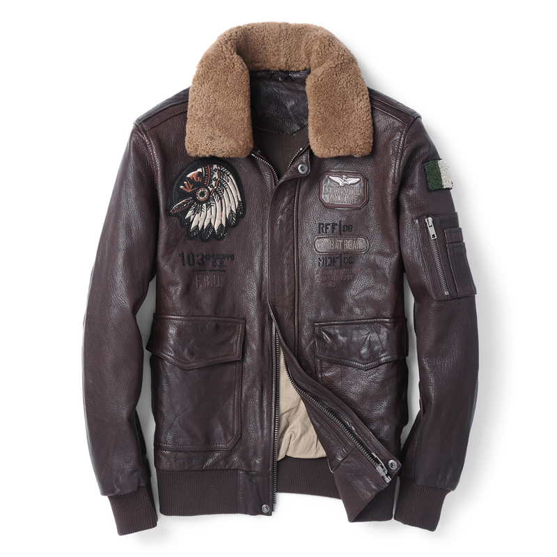 Fashion Leather Coat Real Genuine Leather Jacket Warm Motorcycle Outwear Fur Collar Bomber Short New Goat Leather Coat Black