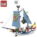Enlighten 310 unids serie pirata caribe barco pirata barco de guerra real bloques huecos de diy ensamblar ladrillos juguetes educativos