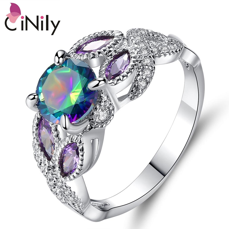 Cinily Jewelry Mystic-Stone Ring-Size Engagement Silver-Plated Cubic-Zirconia Women