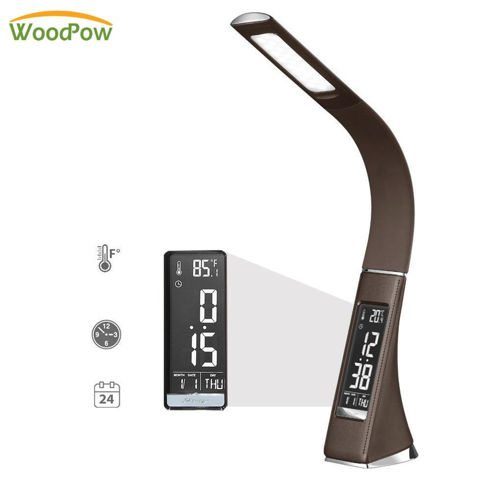 Criativo LED Negócio Textura De Couro de Toque Escurecimento Lâmpada de Mesa Dobrável Mesa de Leitura Lâmpada Com Despertador/Calendário Display LCD