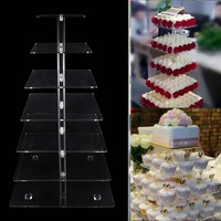 7 Tier Square Shape Acrylic Crystal Clear Cupcake Stand For Wedding Birthday Party Candy Display DHL