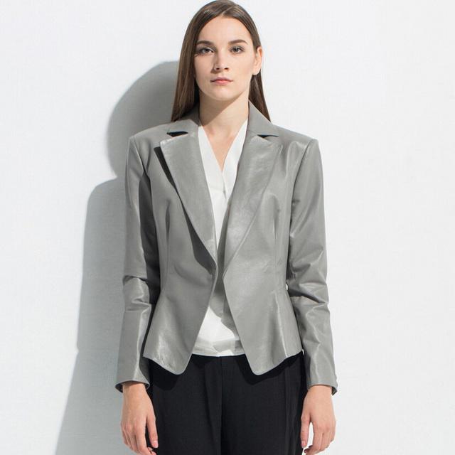 Marca genuína mulher jaqueta de couro de pele de carneiro de luxo de couro curta designer de terno preto/azul/cinza/orange frete grátis xe2029