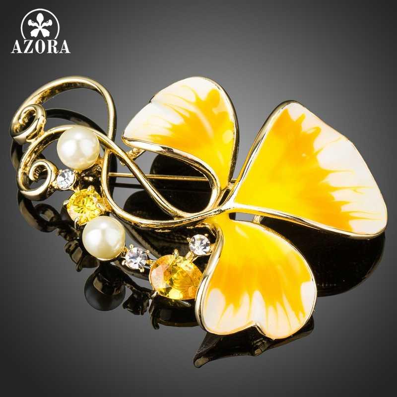 Azora Oil Painting Pola Daun Bros untuk Wanita Kuning Zirconia Tanaman Bunga Bros Pin Simulasi Mutiara Wanita Perhiasan TP0065