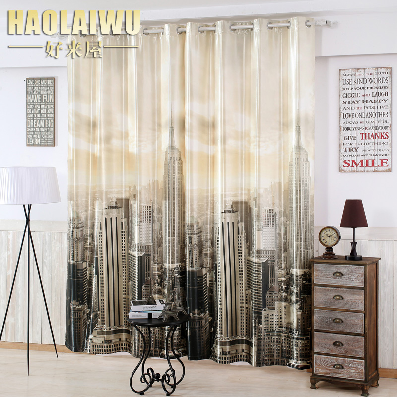 Aliexpress Buy Free Shipping Modern Style 3D Digital Print New York City Blackout Curtain For Living Room Window Custom Made From Reliable Curtains