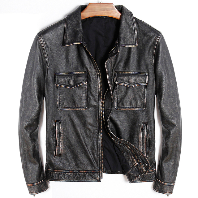 Free shipping.thick Classic style cowhide coat,vintage men 100% genuine leather pockets Jackets,fashion slim jacket,sales.edging