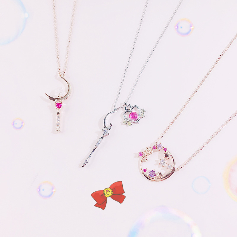 Anime Sailor Moon Tsukino Usagi S925 Silver Chains Necklace Women Make up Pendant Necklaces Cosplay Jewelry Accessories Gift New