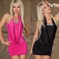 N-206 2014 new sexy night club cosplay mulheres roupas sem mangas moda dress black rose frete grátis