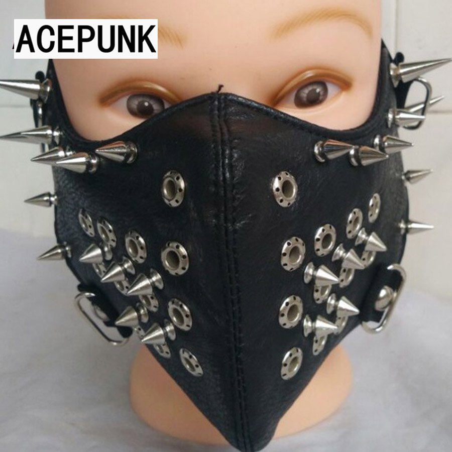 Motorcycle Half Face Studded Punk Silver-Metal Spikes Black PU Leather Mask Hip Hop Punk Motocycle Accessories Halloween Party