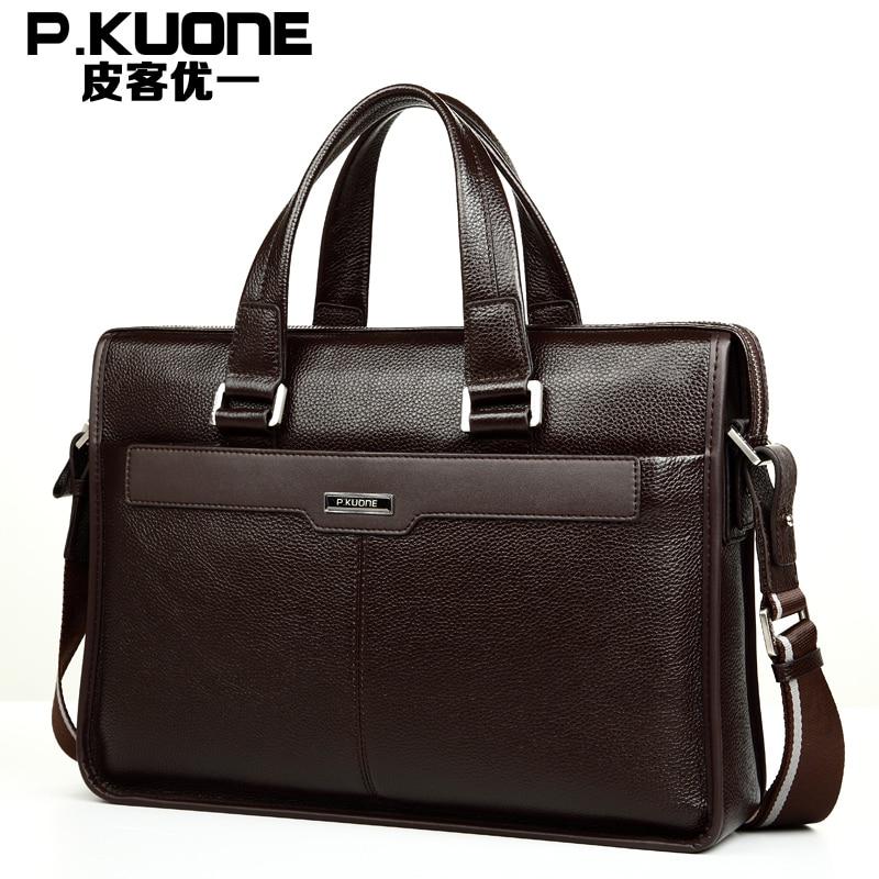 Hot selling Men Bags 100% Genuine Leather Handbags Men Crazy Cowhide Leather Messenger Bags Shoulder Bag Briefcase Free Shipping